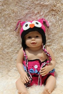 New Cute Cotton Handmade Pink Black Newborn Baby Knit Owl Hat Nappy Photo Prop