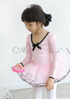 Girls Party Long Sleeve Leotard Pink Ballet Dance Tutu Costume Fairy Dress 3 8Y