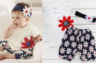 Cute Baby Girls Kids T Shirt Headband Top Pants Shorts 3pcs Outfit Clothes