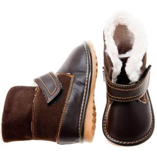 Girls Boys Toddler Childrens Leather Suede Squeaky Boots Brown with Fleecy Inner