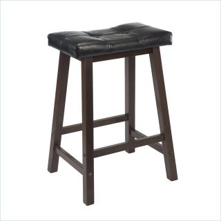 "Winsome Mona 24"" Cushion Saddle Seat Stool in Antique Walnut   94064"