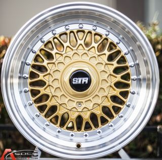 15x8 Str 606 RS Style 4x100 Gold Wheel Fit Honda Del Sol Fit Civic SI EK6 EK9