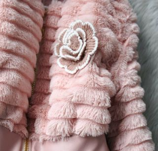 Baby Toddler Girls Faux Fur Fleece Zipper Lined Coat Kids Winter Warm Jacket
