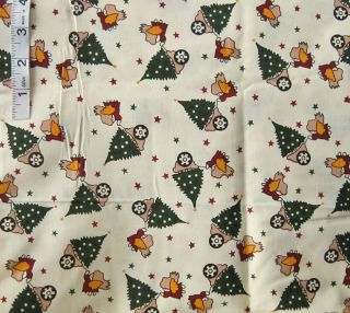 2 yds Christmas Holiday Childs Print Cotton Quilting Fabric Angels Trees