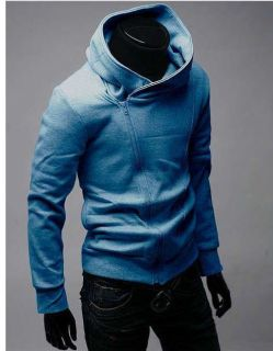 New Mens Korea Fashion Slim Casual Oblique Zip Coat Jacket Hoodies 4 Colors N066