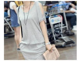 Korean Fashion Round Neck Off Shoulder Casual Pockets Mini Dress Skirt