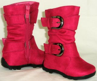 Sooo Cute Girls Tall 2 Buckle Boots Comfy Casual Kids Shoes Youth Toddler Size