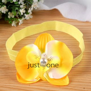 Cute Baby Kids Girls Hair Decor Fabric Flower w Pearl on Skinny Elastic Headband