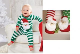 Mud Pie Santa Baby Collection Green White Christmas Santa Pajamas 101A014 New