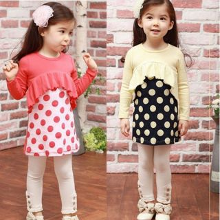 Baby Toddler Girls Kids Long Sleeve Clothes Dress Top 3 8 Years Outfit