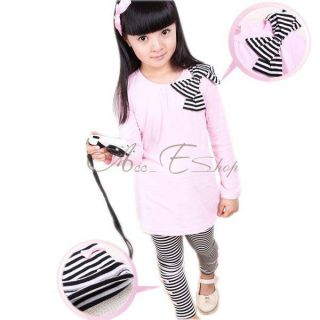 Girl Long Sleeve Shirt Dress Top Bow Stripe Leggings 2pcs Sets Outfit Ages 3 8Y
