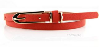 New Women Lady Fashion Candy Color Faux Leather Thin Skinny Waistband Cute Belts