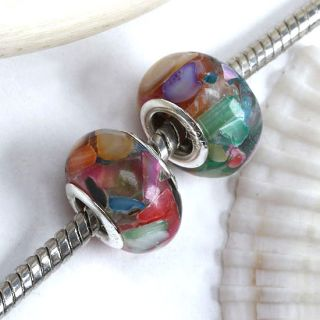 5X Multicolor Shell Resin Large Hole Bead Fit Bracelet