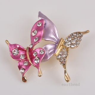Reso Purple Fashion High Quality Enamel Crystal Butterfly Brooch Jewelry