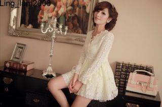 Cute Sweet Japan Dolly Gothic Punk Lolita Princess Lace Onepiece Dress Cream Wht