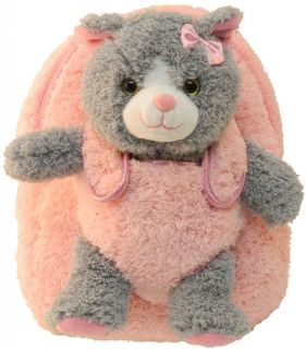 Kreative Kids Plush Pink Backpack Soft Gray Kitten Buddy for Little Ones