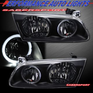 00 01 Toyota Camry Black Housing Headlights Halo Rim