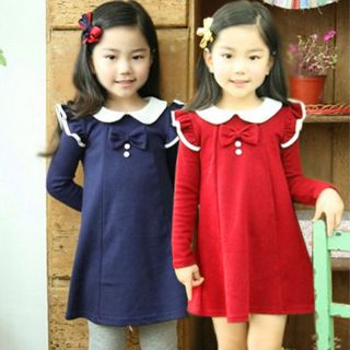 Kids Girls Bowknot Ruffle Sleeves Dress Tops Princess School Costume Dress 2 7 Y