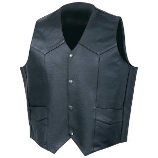 Mens Solid Genuine Cowhide Black Leather Vest Motorcycle Western Style Lined Man