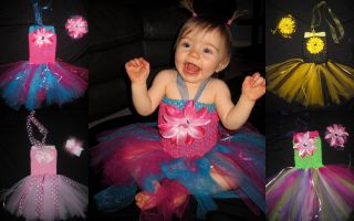 New Baby Girl First Birthday Princess Tutu Dress Pagent Outfit Green Pink Yellow