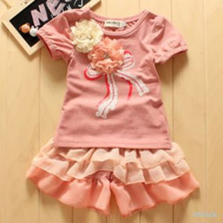 Kids Girls 2pcs Outfits Costume Flowers T Shirts Tops Ruffle Culottes Set 0 3Y