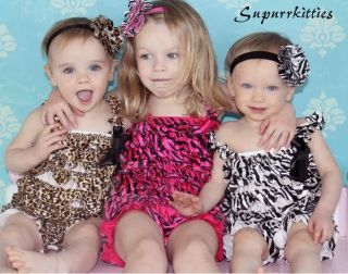 Animal Zebra Leopard Polka Dot Print Satin Ruffle Petti Rompers Baby Photo Prop
