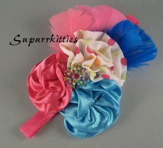 Turquoise Hot Pink Satin Rosette Rhinestone Baby Headband Photo Prop Vintage