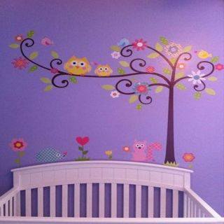 Owl Tree Squirrel Vinyl Decal Decor Removable Nursery Kids Room Wall Stickers