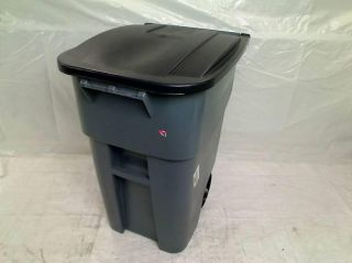 Rubbermaid Commercial Brute HDPE 50 Gallon Rollout Trash Can with Lid $164 00