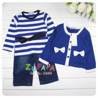 Kids Children Girls Blue Clothings Outfits 3pcs Sets T Shirt Jeans Tops
