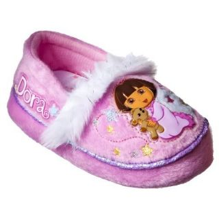 "Dora The Explorer Toddler Girl Slippers Size Small 5 6 ""Dora with Bear"""