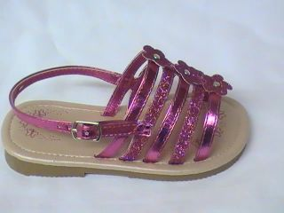 Girls Fuchsia Sandals Flowers Glitter cm Youth Sz 3