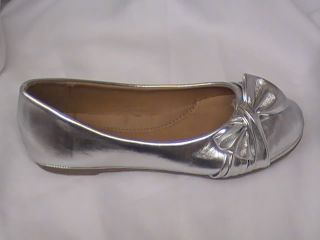 Girls Silver Ballet Flats with Raised Bow TG Tod Sz 10
