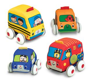 K's Kids Melissa Doug Pull Back Vehicles Cars Baby Toddler Soft Toy Washable