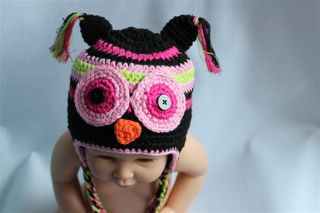 Cute Gorgeous Baby Toddler Owl Hat Beanie New Black 2 3Year Photo Prop Handmade