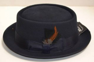 FD209 New Mens Porkpie Hat 100 Wool Pork Pie Round Brim Fedora Feather Band