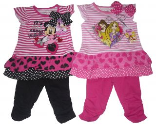 Girls 2 Piece Set Dress Tunic Top Leggings Outfit Disney Minnie Mouse Princess