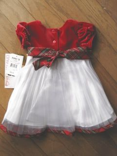 Girls White Dress Red Velvet Bodice Infant Baby Youngland Size 12 18 Months