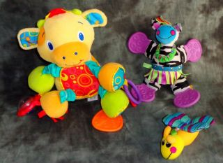Plush Baby Toy Lot Bright Starts Cow Sassy Zebra Firefly Rattle Sensory Teether
