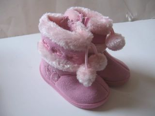 New Baby Toddler Black Pink Beige Hot Pinks Girls Winter Fur Boots Shoes Sz 2 3
