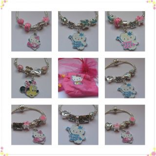 Hello Kitty Minnie Mouse Childrens Babies Charm Bracelet Pink Blue Purple Gift