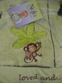 NoJo Baby Loved and Cherished Jungle Baby Monkey Plush Blanket Green