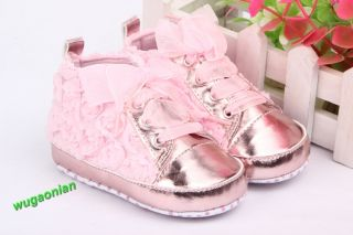 Fashion Non Slip Rose Flowers Uppers Newborn Baby Toddler Shoes 4 Color 3 Size