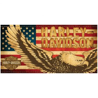 New Classic Harley Davidson Eagle and Flag Beach Towel Strong and Absorbent