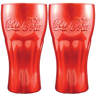 New Set of 2 Coke Bottle Shaped Red Glasses Coca Cola Soda Fountain Style
