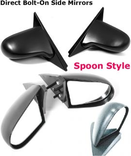 92 95 Honda Civic 2 3 Door JDM Spoon Style Clear Lens Black Manual Side Mirrors