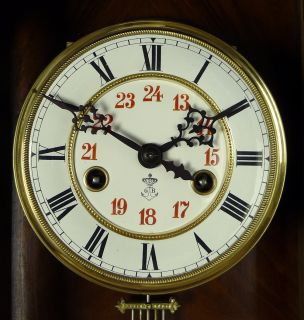 RARE Gorgeous Antique Gustav Becker Wall Clock at 1900 2 Horses on The Door