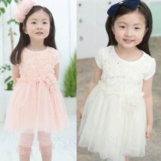 Kids Toddlers Girls Lovely Sleeve Cotton Flower AGES2 7Y Tutu Skirt Dress