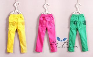 New Kids Toddlers Sweet Girls Clothes Candy Color Hole Pants Trousers SZ1 7Y