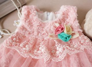 1pcs Baby Girls Pink Flower Plush Lace Rose Party Dress Cool Outfit Clothes